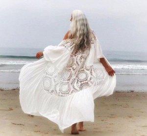 Женская накидка кружевная, цвет белый