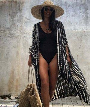 Женская накидка с принтом, цвет черный