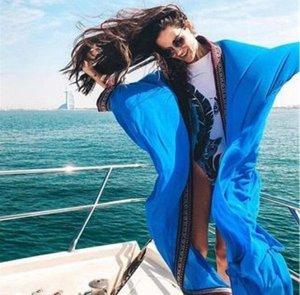 Женская накидка с красной окантовкой, цвет синий