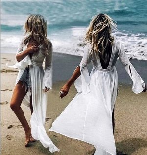 Женская накидка с длинным рукавом,  цвет белый