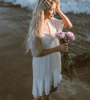 Женское платье, кружевные вставки, цвет белый