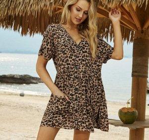 """Женское платье-рубашка, принт """"леопард"""", цвет коричневый"""