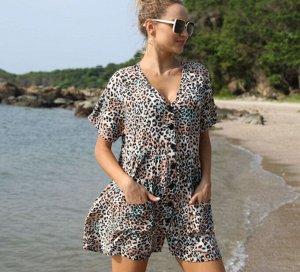 "Женское платье-рубашка, принт ""леопард"""