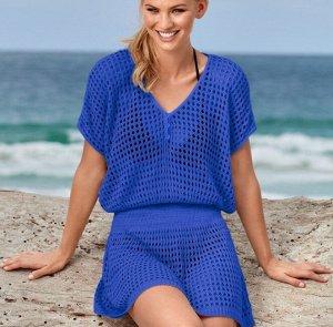 Женское сетчатое платье, цвет синий