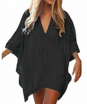 Женское платье, кружевные вставки, цвет черный