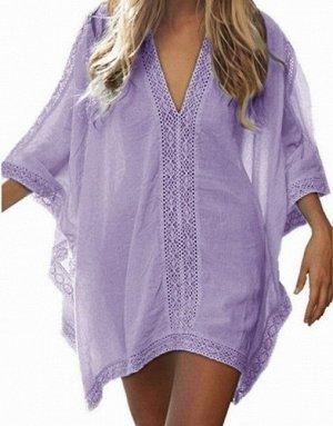 Женское платье, кружевные вставки, цвет сиреневый