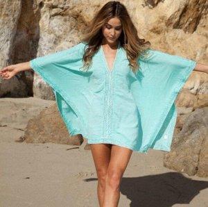 Женское платье, кружевные вставки, цвет голубой
