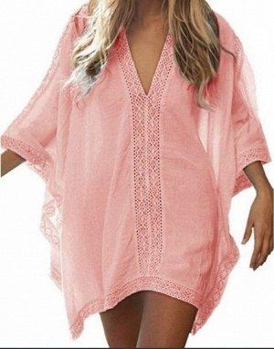 Женское платье, кружевные вставки, цвет персиковый