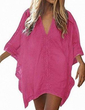 Женское платье, кружевные вставки, цвет розовый