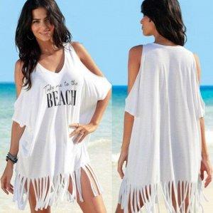 Женское платье с открытыми плечами, цвет белый