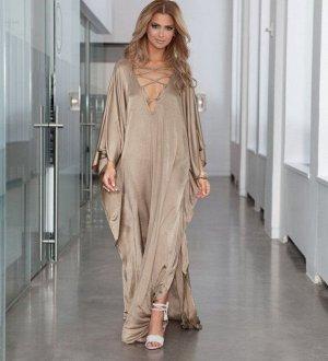 Женское платье, декоративная шнуровка, цвет кремовый