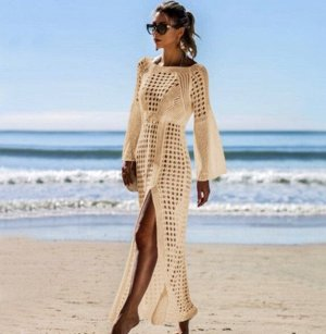 Женское кружевное платье, цвет бежевый