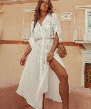 Женское платье-рубашка, цвет белый