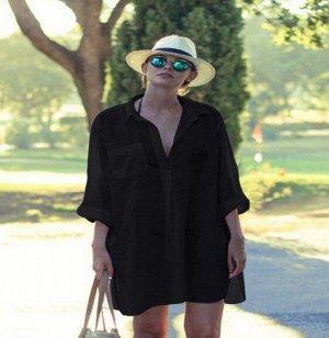 Женское платье-рубашка, цвет черный