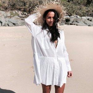 Женское платье с длинным рукавом, цвет белый