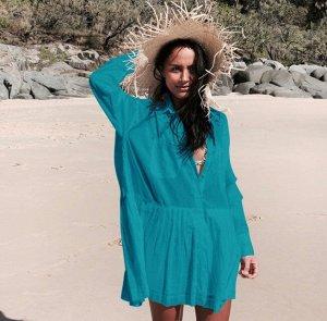 Женское платье с длинным рукавом, цвет сине-зеленый