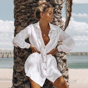 Женское платье-рубашка, кружевные вставки, цвет белый