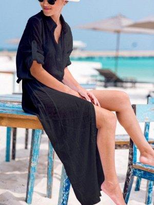 Женское длинное платье-рубашка, цвет черный
