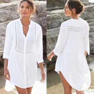 Женское короткое платье-рубашка, цвет белый