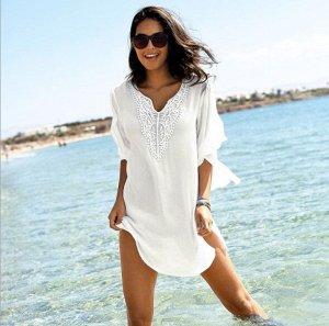 Женское короткое платье, цвет белый