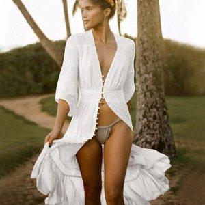 Женское платье на пуговицах, цвет белый