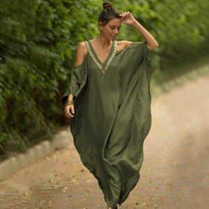 Женское платье с открытыми плечами, цвет хаки