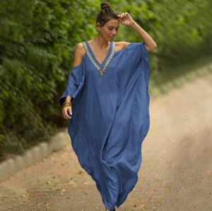 Женское платье с открытыми плечами, цвет светло-синий