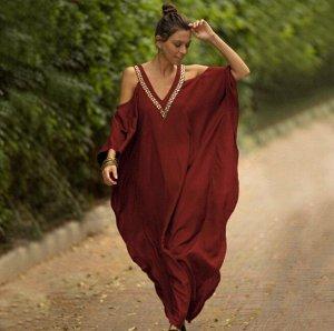 Женское платье с открытыми плечами, цвет красный