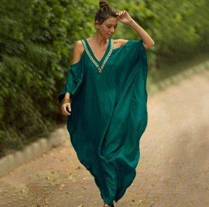 Женское платье с открытыми плечами, цвет зеленый