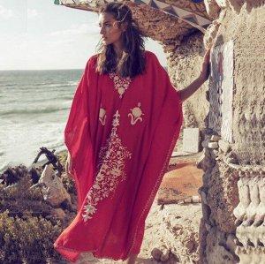 """Женское платье, принт """"узоры"""", цвет красный"""