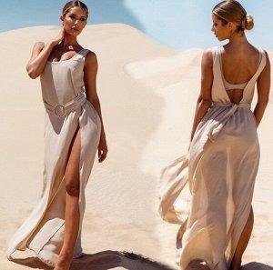 Женское платье, открытая спина, цвет кремовый