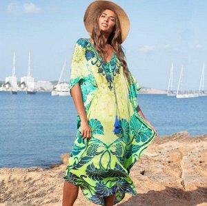 """Женское платье, принт """"узоры"""", цвет зеленый"""