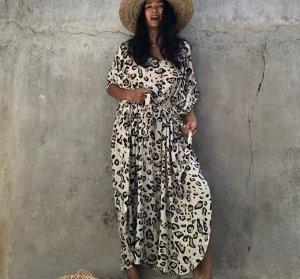 """Женское платье, принт """"леопард"""", цвет молочный"""