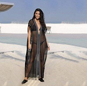Женское прозрачное платье, белая окантовка, цвет черный