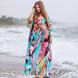 Женское платье с принтом, разноцветное