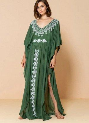 """Женское платье с вырезами, принт """"узоры"""", цвет зеленый"""
