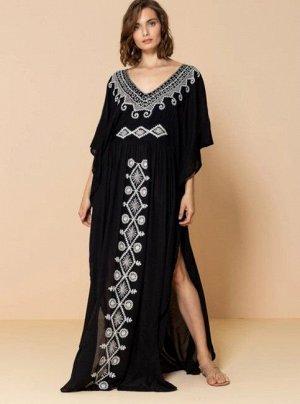 """Женское платье с вырезами, принт """"узоры"""", цвет черный"""