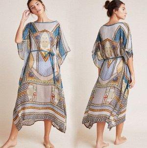 """Женское длинное платье, принт """"узоры"""", цвет синий"""