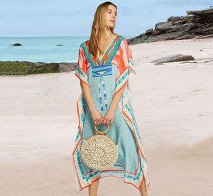 """Женское длинное платье, принт """"полосы"""", цвет оранжевый/голубой"""