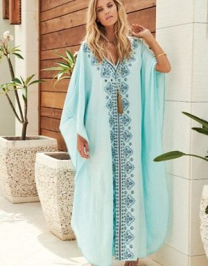 """Женское длинное платье, принт """"узоры"""", цвет голубой"""