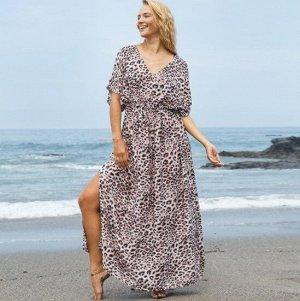 """Женское длинное платье, принт """"леопард"""", цвет белый"""
