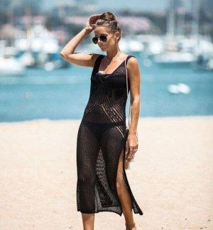 Женское платье-сетка с вырезами, цвет черный