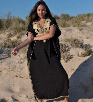 """Женское длинное платье, принт """"узоры"""", цвет черный/золотой"""