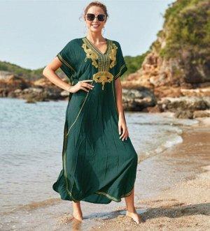 """Женское длинное платье, принт """"узоры"""", цвет зеленый/золотой"""