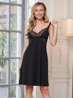 Сорочка для кормления Olivia черный  (хлопок 80% PA14% эластан 6%)