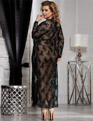 Черное нежное кружевное длинное платье для сна