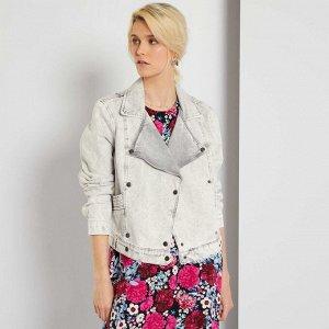 Джинсовая куртка-косуха - серый