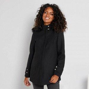 Пальто из материала под шерсть для беременных - черный