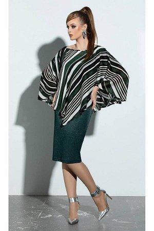 Платье, пончо Diva 1208 зеленый