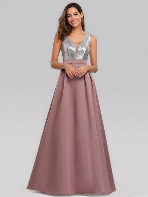 Шикарное вечернее платье с V-образным вырезом и пайетками в области груди